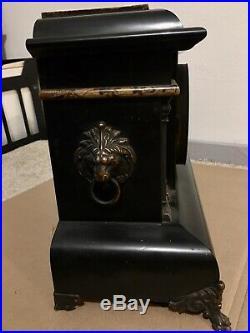 1800s Seth Thomas Antique Adamantine Chime Mantle Clock 4 Columns Ornate Lions