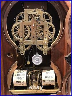 1875 Antique Two Dial USA Seth Thomas Calendar, Months, Day, Striking, time Clock