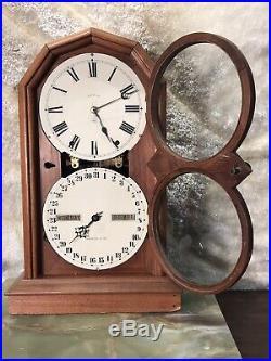 1875 Antique USA Seth Thomas Double Dial Calendar Clock, Days, Time & Strike