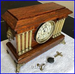 1900s Antique Seth Thomas Adamantine Mantel Shelf Clock Working Correctly