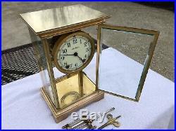 1910s Antique Seth Thomas Crystal Regulator Mantel Clock Working Correctly