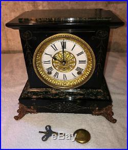 1910s Antique Seth Thomas Mantel Shelf Clock Working Correctly Adamantine