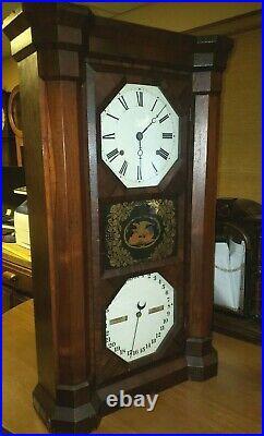 #42 Antique Seth'Parlor Calendar' Double Dial, Calendar Clock. C1863