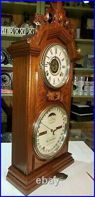 #556 Antique Ithaca No. 8 Double Dial Calendar Clock With ALARM