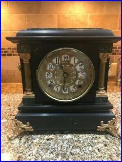 ANTIQUE 1880 SETH THOMAS ADAMANTINE MANTEL CLOCK W KEY WORKING No Reserve
