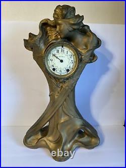 ANTIQUE ART NOUVEAU SETH THOMAS BRONZED MANTLE CLOCK 21 1/4 Tall