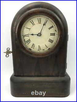 ANTIQUE SETH THOMAS 8-DAY SPRING CLOCK + KEY Mahogany Wood Beehive Shelf Mantel