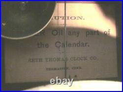 ANTIQUE SETH THOMAS NO. 7 DOUBLE DIAL CALENDAR, TIME/STRIKE. Ca. 1896. Rosewood