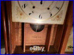 Antique 1820s Mark Leavenworth Pillar and Scroll Mantle Shelf Clock Waterbury CT