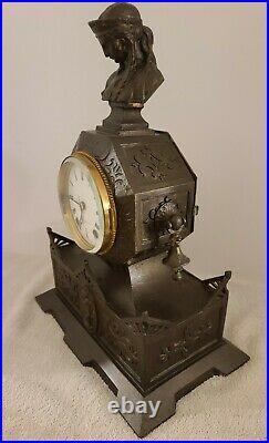 Antique 1874 Seth Thomas & Sons No. 8013 Cast Metal Figural Mantel Shelf Clock