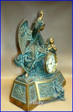 Antique 1875 Seth Thomas Clock Titled Guardian Angel Metal Original & Working
