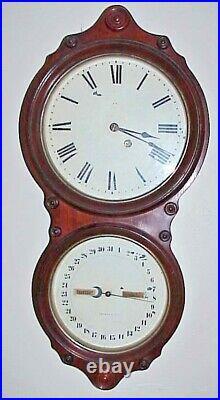 Antique 1876 Seth Thomas 8 Day Office #6 Double Dial Calendar Wall Clock