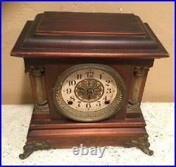 Antique 1880 Patent Seth Thomas Admantine Lion Head Mantle Clock WithBrass Accents