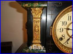 Antique 1880 Seth Thomas #102 Adamantine Mantle Clock Faux Marble Brass Accents