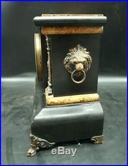 Antique 1893 Set Thomas Adamantine Mantle Clock #102 Lion Pillars Key 3981 (T2)