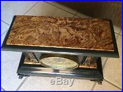 Antique 1893 Seth Thomas Adamantine Black Mantle Clock #102 Lion Pillars Bin$180