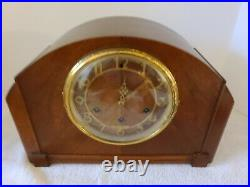 Antique 1940 SETH THOMAS Mahogany Westminster Chime Deco Mantel Shelf Clock 124