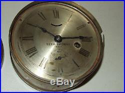 Antique 19th C. Working Seth Thomas Lever Marine Ship's Porthole Gallery Clock