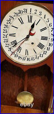 Antique 8 Day Seth Thomas Office Calendar Regulator Wall Clock 35 In Tall Works