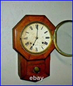 Antique 8 Day Seth Thomas Short Drop Wall Regulator Chime Clock Working Mvt. 89k