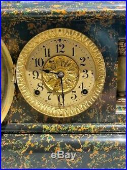 Antique Adamantine Seth Thomas Mantle Clock Running Orange & Green