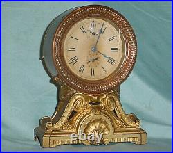 Antique Circa 1910 SETH THOMAS Long Alarm Copper Brass Shelf Mantle Clock WORKS