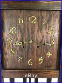 Antique LARKIN Co SETH THOMAS Oak Grandfather Clock Mission Arts Crafts