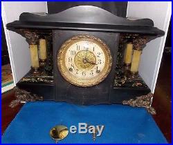 Antique Large Seth Thomas Adamantine Mantel Clock Running Celluloid Columns