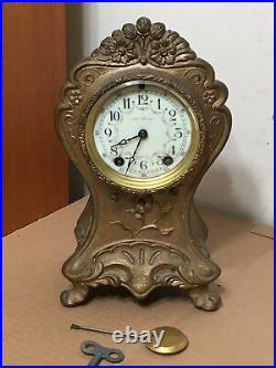 Antique Rare Seth Thomas Art Nouveau Cast Metal Clock With Flower Decorations