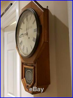 Antique SETH THOMAS Oak Octagon Drop School House Regulator Wall Clock c. 1900