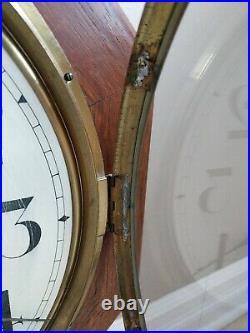 Antique SETH THOMAS Octagon Drop School House Regulator Oak Wall Clock KEY WORKS
