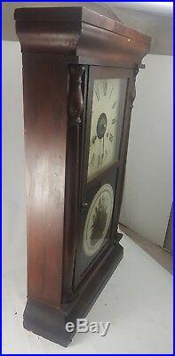 Antique SETH THOMAS WALL CLOCK Wood Mahogany Pendulum Mechanical Bird ADJUSTMENT