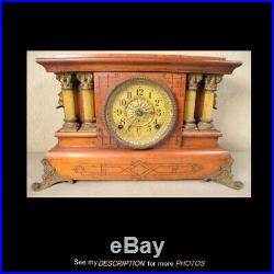 Antique Seth Thomas 2 Full Pillar Faux Rosewood / Red Adamantine Mantle Clock