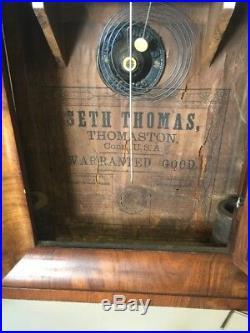 Antique Seth Thomas 30 Hr. Ogee Wall Mantel Clock Serviced Original Glass