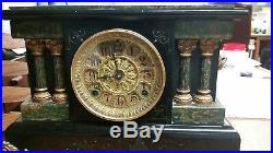 Antique Seth Thomas 4 Column Green Black Adamantine Mantle Clock RARE