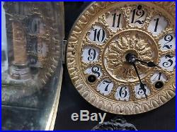 Antique Seth Thomas 4 Column Green Black Adamantine Mantle Clock RARE 1900