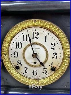 Antique Seth Thomas 6 Full Column Green Black Adamantine Mantle Clock