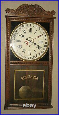 Antique Seth Thomas 8 Day Store Box Regulator Wall Clock With Calendar Working