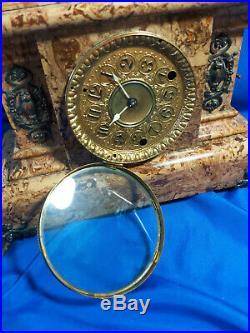 Antique Seth Thomas Adamantine Faux Marble Mantle Clock Brass Lion's Head
