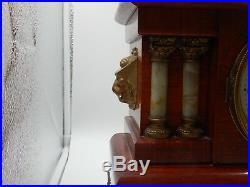 Antique Seth Thomas Adamantine Mantel Clock Wood Lions 4 column