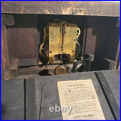 Antique Seth Thomas Adamantine Mantle Clock pat. 1880 Black green works. Inc Key
