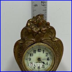 Antique Seth Thomas Bronzed Mantel Desk Clock Floral Art Nouveau Cast Spelter