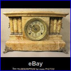 Antique Seth Thomas Butterscotch Adamantine Mantle Clock Lions Heads