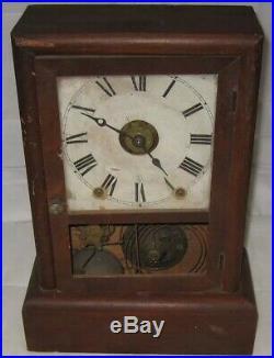 Antique Seth Thomas Day Spring Wood Winding Pendulum Shelf Mantle Clock