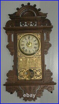 Antique Seth Thomas Eclipse Balltop Walnut Wall Clock Super Clean Working +Alarm