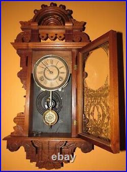 Antique Seth Thomas Eclipse Hanging Kitchen Wall Clock 8-day, Time/strike
