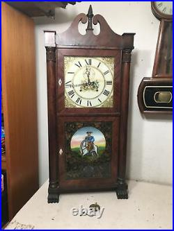 Antique Seth Thomas Eli Terry 8 Day Wooden Works Shelf Clock With Second Bit