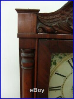 Antique Seth Thomas/Eli Terry Tall Column Clock Wood Works Eagle Splat 1830's
