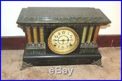 Antique Seth Thomas Green Adamantine 6 Pillar Mantel Mantle Clock Shelf