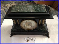 Antique Seth Thomas Green & Black Adamantine Mantle Clock Lions Heads Works